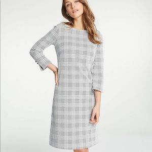 NWT Ann Taylor Plaid Boatneck Shift Dress